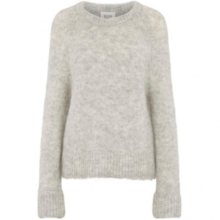 Second Female - Leisa Knit O-neck - grey melange