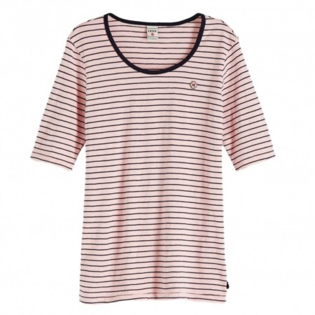 MAISON SCOTCH - Classic Stried Tee With Longer Lenght Short Sleeve - Rosa m/ blå striper
