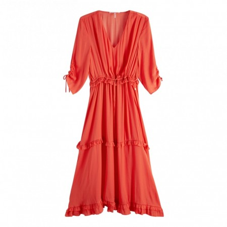 MAISON SCOTCH - MIDI LENGTH DRESS WITH V-NECK AND RUFFLES - ORANSJE