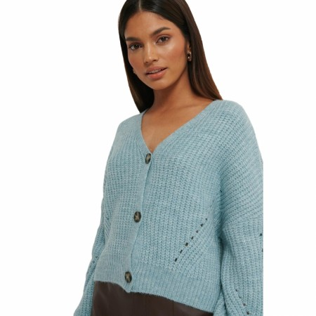 NA-KD - OVERSIZED CROPPED CARDIGAN - BLUE