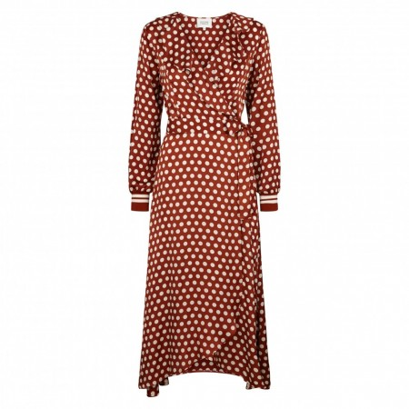 Second Female - Spotty Wrap Dress - rustic brown