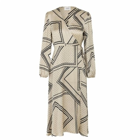 Second Female -  Isa Ls Wrap Dress - Abbey Stone