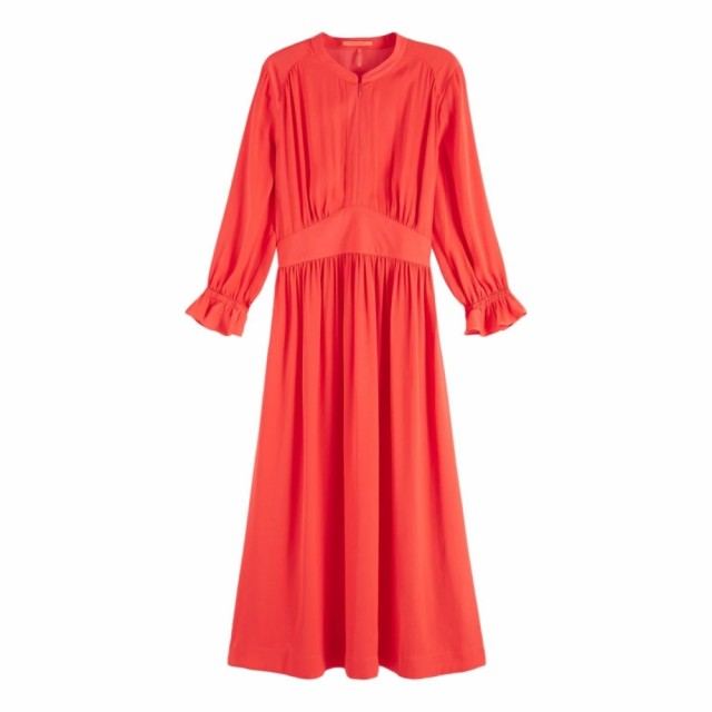 MAISON SCOTCH - MIDI LENGST DRESS WITH FITTED WAIST - ORANSJE