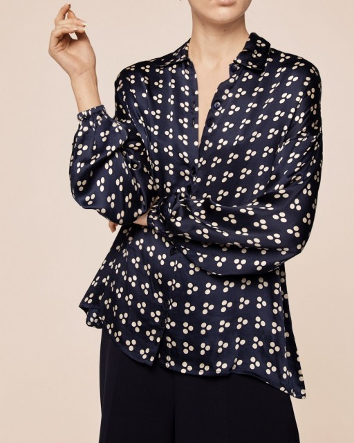 By Ti-mo - Satin High Neck Blouse - japanese dots