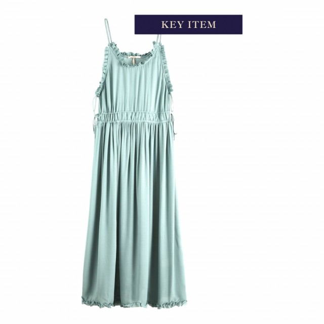MAISON SCOTCH - VISCOSE SUMMER MIDI DRESS WITH STRAPS - MINT